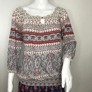 🆕 Lucky Brand Pullover Boho 3/4 Sleeve Blouse S